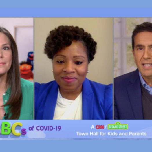 From left, CNN's Erica Hill, Penn GSE graduate Sundai Riggins, and CNN's Sanjay Gupta, appear on ABCs of COVID-19: A CNN/Sesame Street Town Hall for Kids and Parents. (CNN)