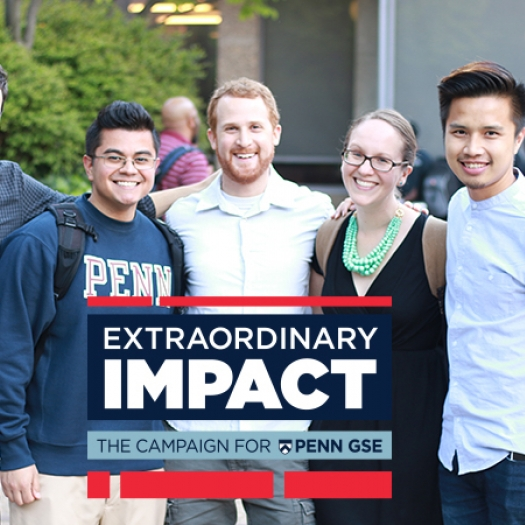 A group of Penn GSE students pose together in the Penn GSE courtyard. The Extraordinary Impact logo is on the bottom of the image.
