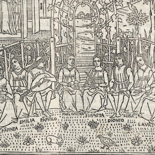 An illustration from The Decameron, showing people sitting in a circle telling a story.
