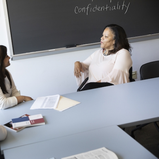 Marsha Richardson, right, leads a discussion at Penn GSE in 2019.