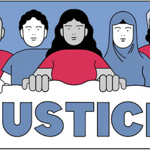 """An illustration of five people, including two holding up camera phones, looking at the viewer. They hold a sign that reads """"Justice."""""""