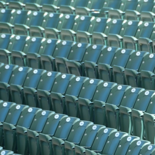 Empty seats in a stadium.