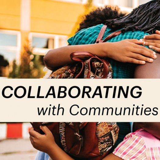 """Outdoors, a woman wearing a backpack hugs two children. The three people are facing away from the camera. A headline reads, """"Collaborating with Communities."""""""