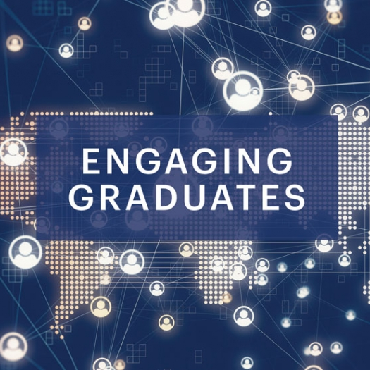"""A digital world map lit up by several points of light against a navy blue background. Icons symbolizing people are linked by beams across the map and beyond. A headline reads, """"Engaging Graduates."""""""