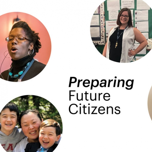 """Circle-shaped headshots of three Penn GSE alumni appear against a white background with the headline """"Preparing Future Citizens."""""""