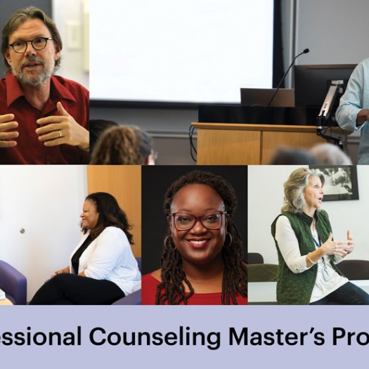 """Faculty appear in clasrooms in five tiled images. A lavender bar across the bottom reads, """"Professional Counseling Master's Program."""""""