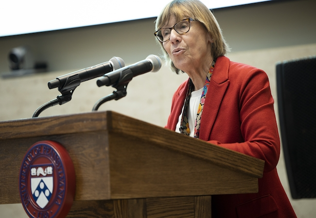 Penn GSE Dean Pam Grossman, who recently co-authored a new report from the Learning Policy Institute, pictured in February 2020.