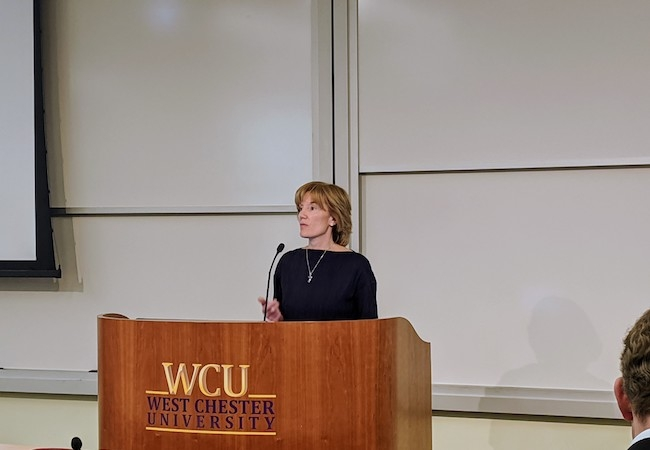 Penn GSE professor Laura Perna testifies at a January 8, 2020 hearing of Pennsylvania Higher Education Funding Commission at West Chester University.
