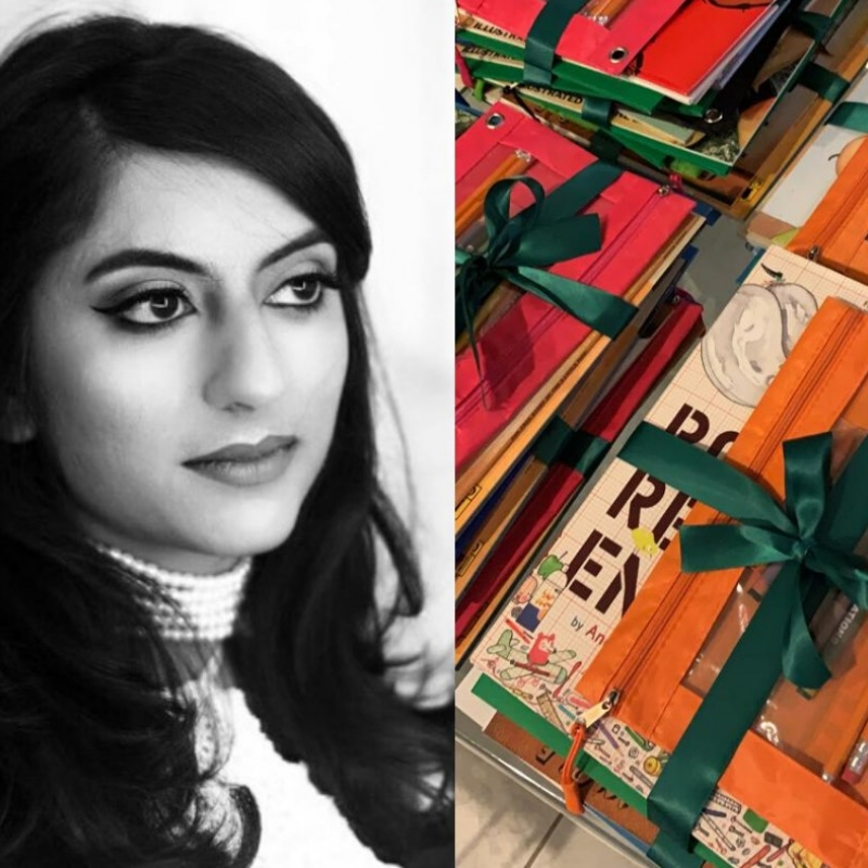 Headshot of Rina Madhani beside a photo of colorful literacy kits tied with ribbons