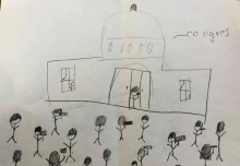 A drawing of the attack on the US Capitol by 8-year-old AD.