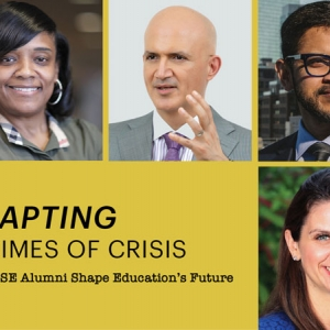 "Headshots of two alumni, a woman and a man, appear on a dark yellow background with the headline ""Adapting in Times of Crisis: Penn GSE Alumni Shape Education's Future."""
