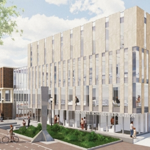 Rendering of overall look of the capital building expansion for Penn GSE