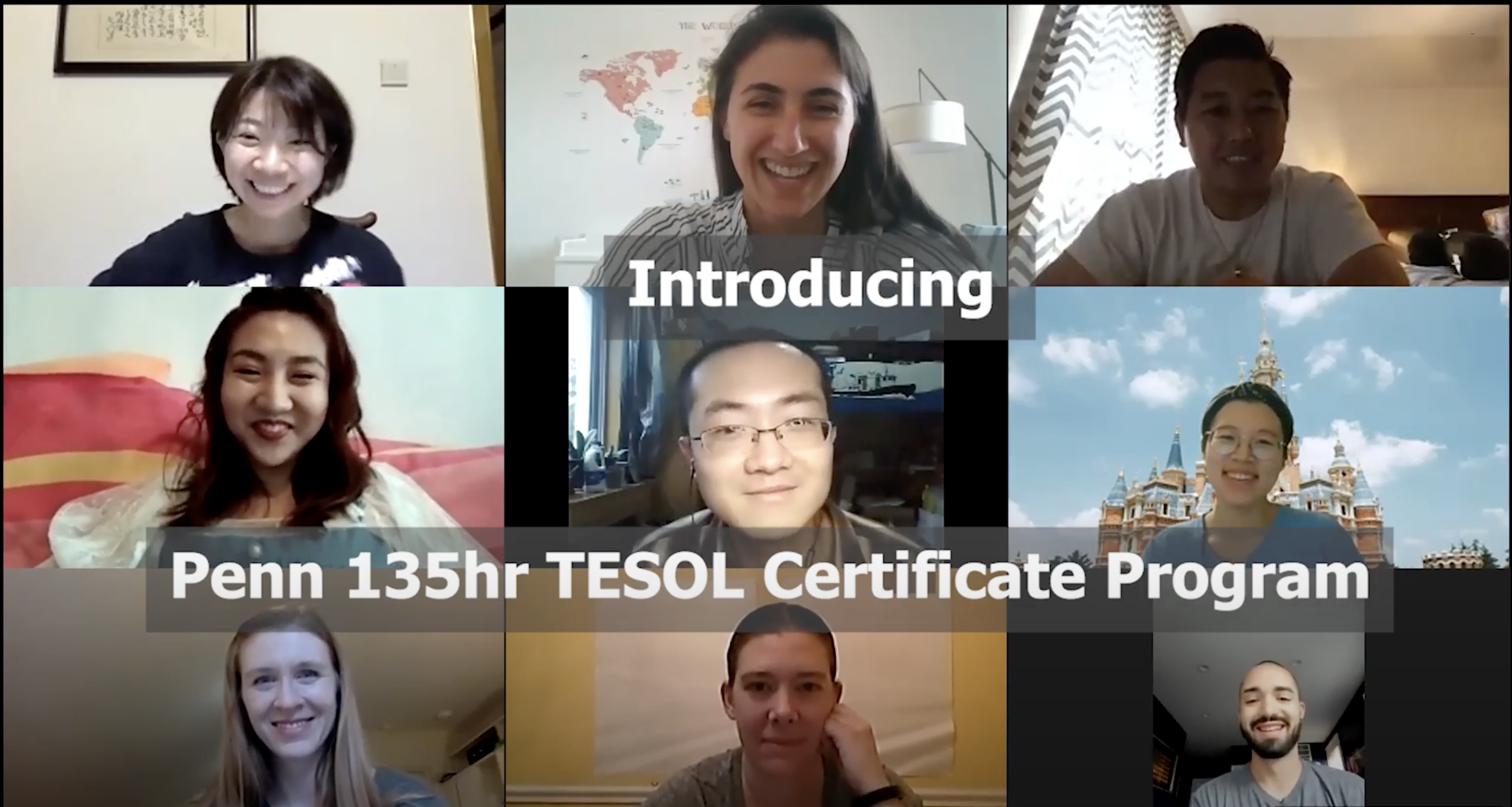 9 participants on a video call in the TESOL Essentials online program.