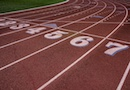 The starting line for a running track.