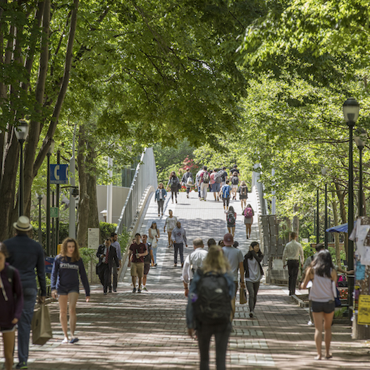 Students walking on Locust Walk on sunny spring day