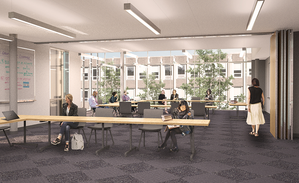 Rendering of students learning inside a flexible, well-lit new classroom