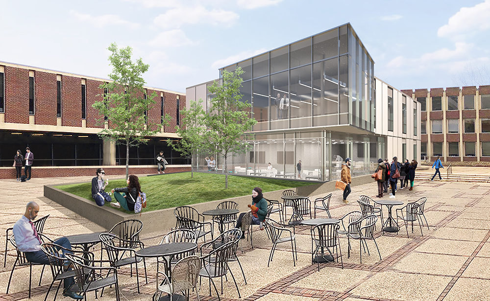 Rendering of the courtyard behind the 3700 Walnut building with a new two-story building attached to Stiteler Hall