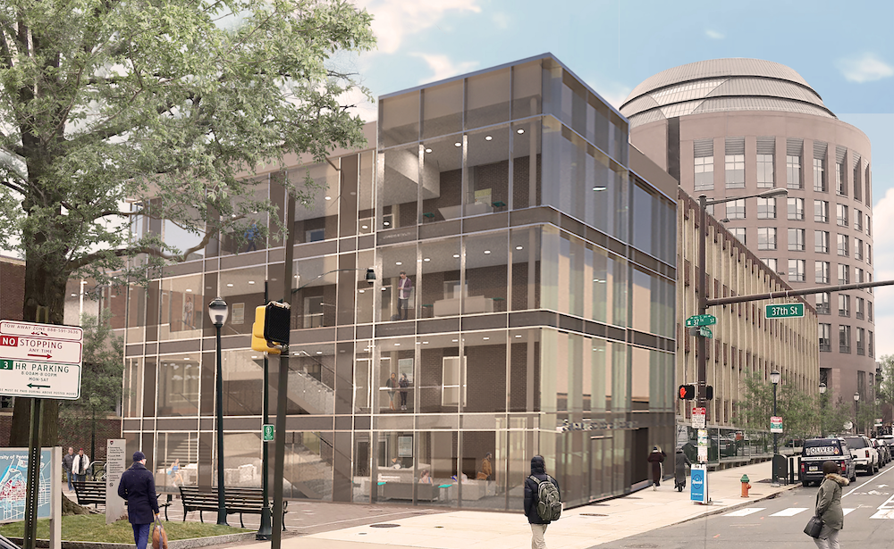 Rendering of the 3700 Walnut building with a glass pavilion added to the east side