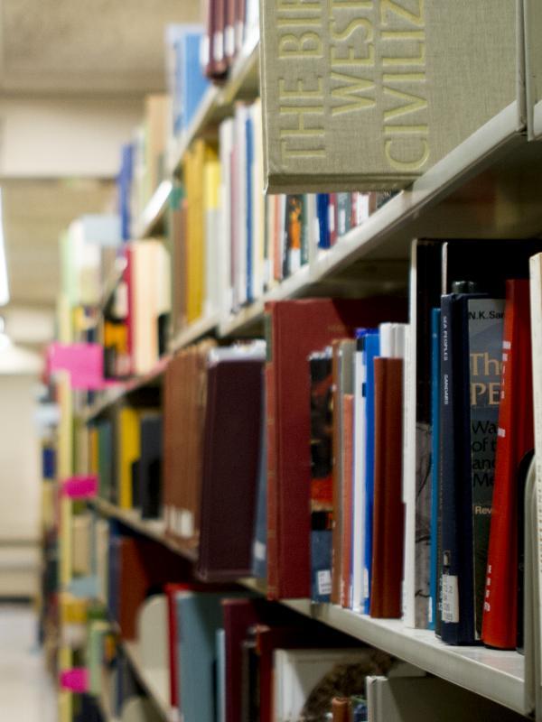 Library bookshelves full of books