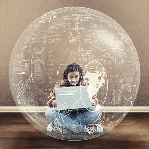 A young woman types on a laptop within a sphere of equations