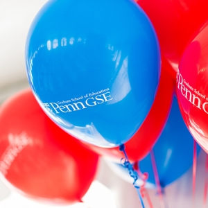 Red and blue Penn GSE balloons