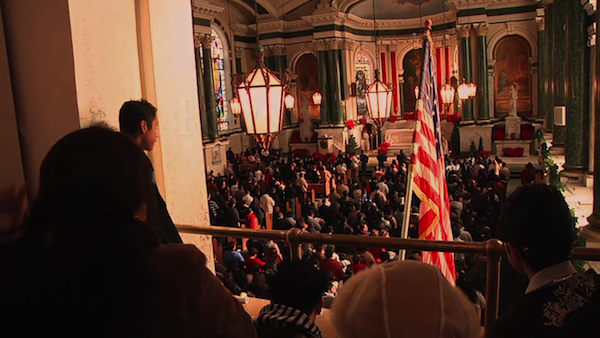 Photo of church interior with American flag